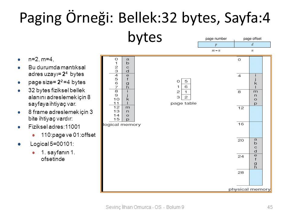 Paging Örneği: Bellek:32 bytes, Sayfa:4 bytes Sevinç İlhan Omurca - OS - Bolum 945 n=2, m=4, Bu durumda mantıksal adres uzayı= 2 4 bytes page size= 2