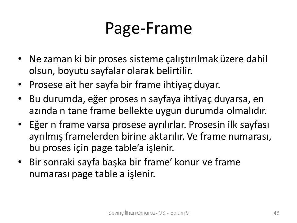 Page-Frame Ne zaman ki bir proses sisteme çalıştırılmak üzere dahil olsun, boyutu sayfalar olarak belirtilir. Prosese ait her sayfa bir frame ihtiyaç