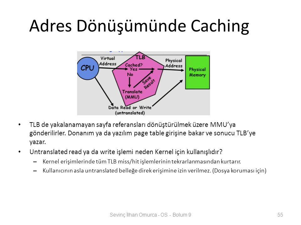 Adres Dönüşümünde Caching TLB de yakalanamayan sayfa referansları dönüştürülmek üzere MMU'ya gönderilirler. Donanım ya da yazılım page table girişine