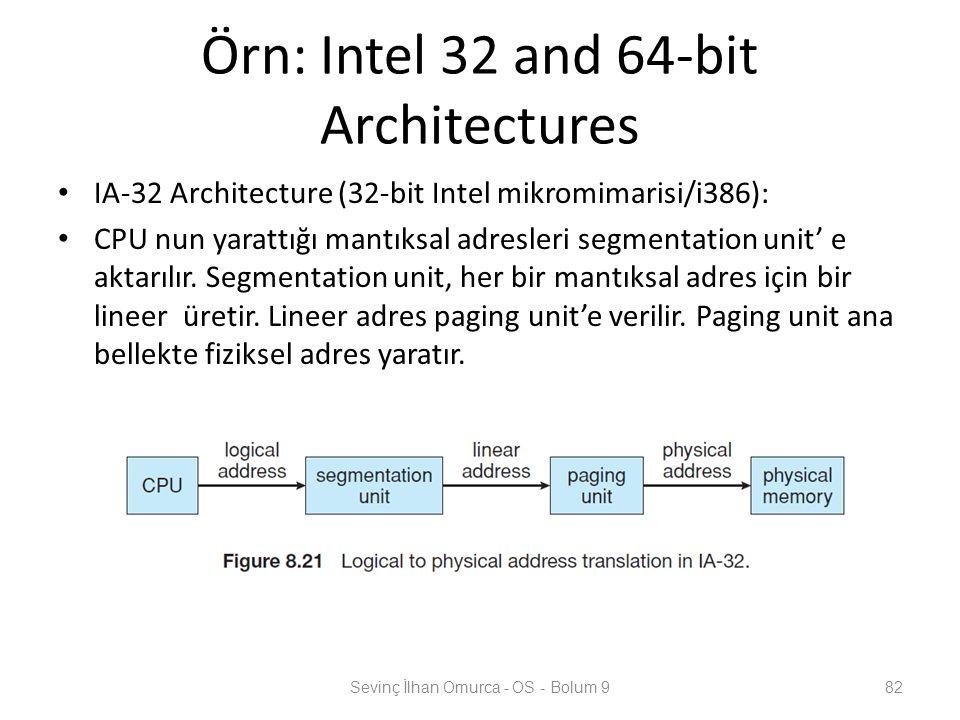 Örn: Intel 32 and 64-bit Architectures IA-32 Architecture (32-bit Intel mikromimarisi/i386): CPU nun yarattığı mantıksal adresleri segmentation unit'