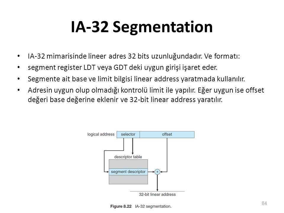 IA-32 Segmentation IA-32 mimarisinde lineer adres 32 bits uzunluğundadır. Ve formatı: segment register LDT veya GDT deki uygun girişi işaret eder. Seg