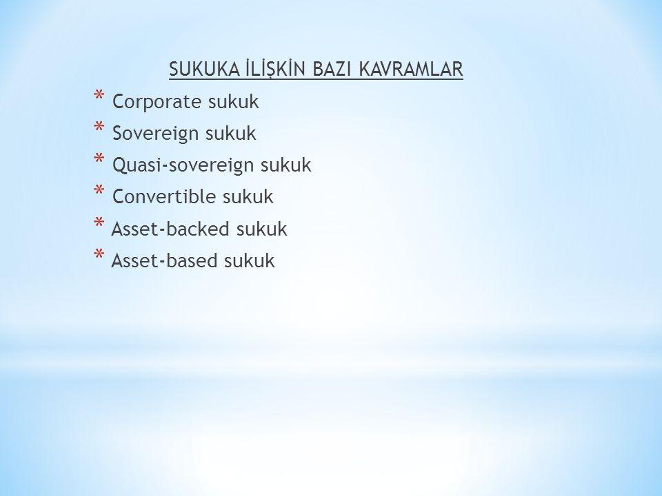 SUKUKA İLİŞKİN BAZI KAVRAMLAR * Corporate sukuk * Sovereign sukuk * Quasi-sovereign sukuk * Convertible sukuk * Asset-backed sukuk * Asset-based sukuk
