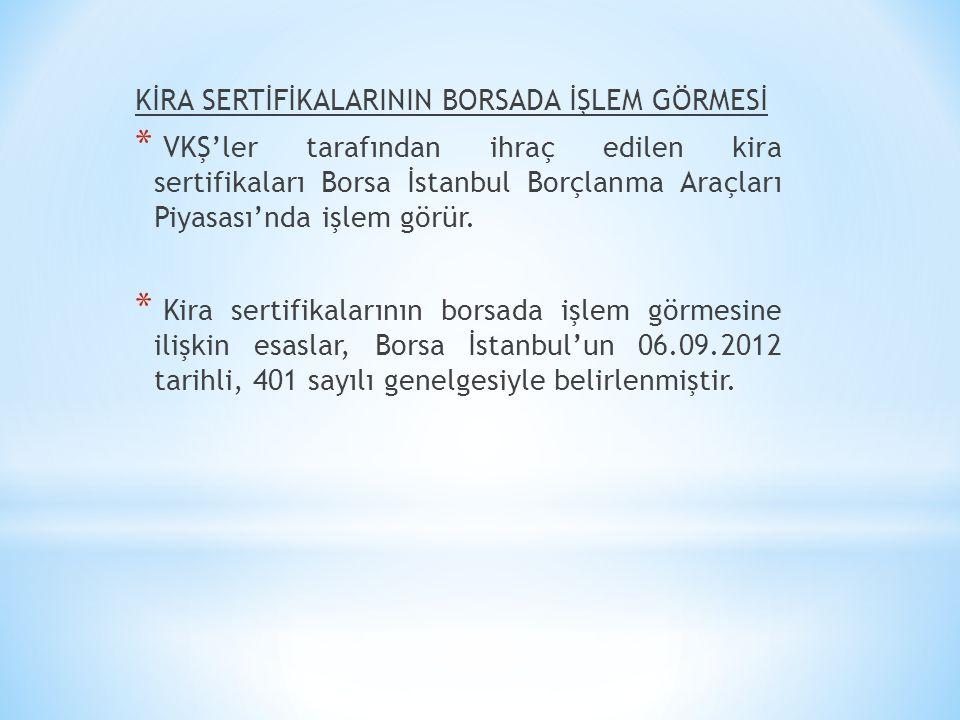 KİRA SERTİFİKALARININ BORSADA İŞLEM GÖRMESİ * VKŞ'ler tarafından ihraç edilen kira sertifikaları Borsa İstanbul Borçlanma Araçları Piyasası'nda işlem