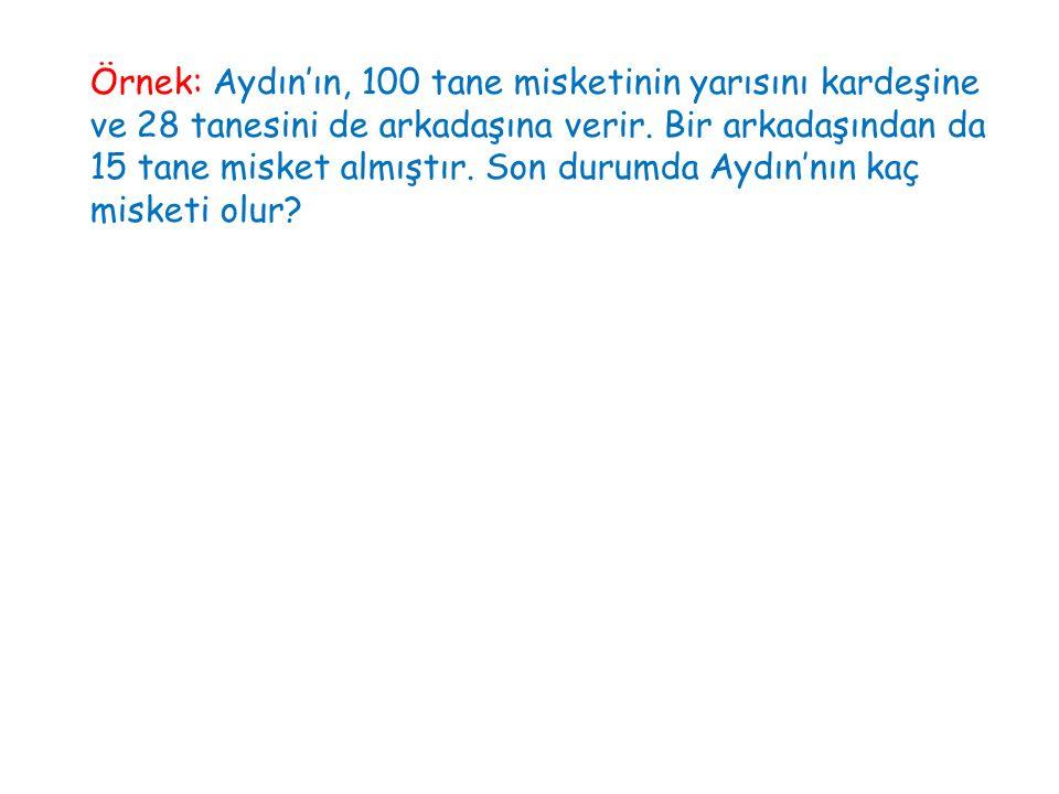 Örnek: Aydın'ın, 100 tane misketinin yarısını kardeşine ve 28 tanesini de arkadaşına verir. Bir arkadaşından da 15 tane misket almıştır. Son durumda A