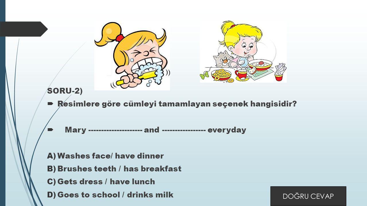 SORU-2)  Resimlere göre cümleyi tamamlayan seçenek hangisidir.