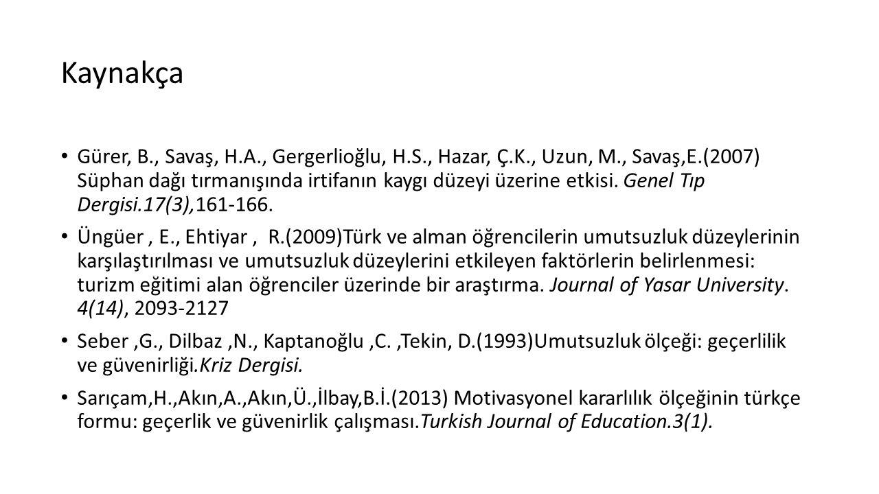 Kaynakça Gürer, B., Savaş, H.A., Gergerlioğlu, H.S., Hazar, Ç.K., Uzun, M., Savaş,E.(2007) Süphan dağı tırmanışında irtifanın kaygı düzeyi üzerine etkisi.
