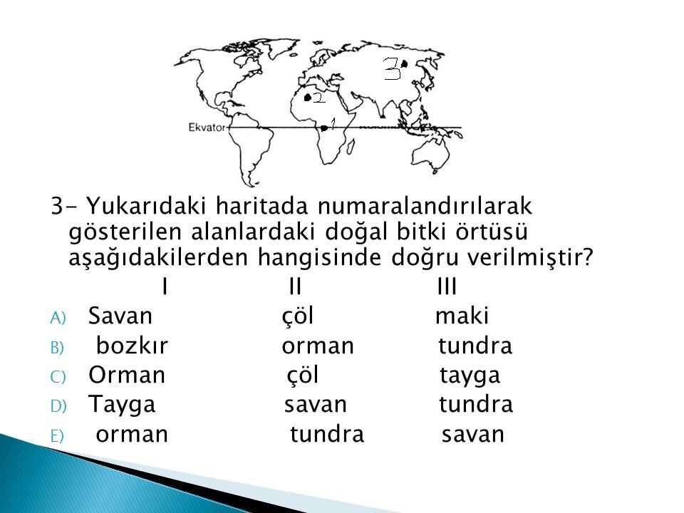 3- Yukarıdaki haritada numaralandırılarak gösterilen alanlardaki doğal bitki örtüsü aşağıdakilerden hangisinde doğru verilmiştir? I II III A) Savan çö