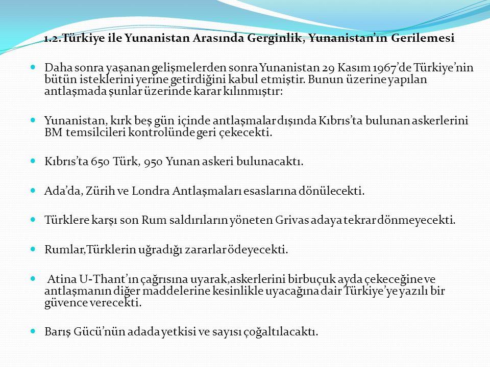 1.2.Türkiye ile Yunanistan Arasında Gerginlik, Yunanistan'ın Gerilemesi Daha sonra yaşanan gelişmelerden sonra Yunanistan 29 Kasım 1967'de Türkiye'nin bütün isteklerini yerine getirdiğini kabul etmiştir.
