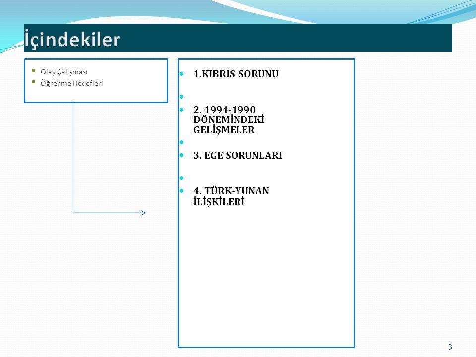 1.KIBRIS SORUNU 2.1994-1990 DÖNEMİNDEKİ GELİŞMELER 3.