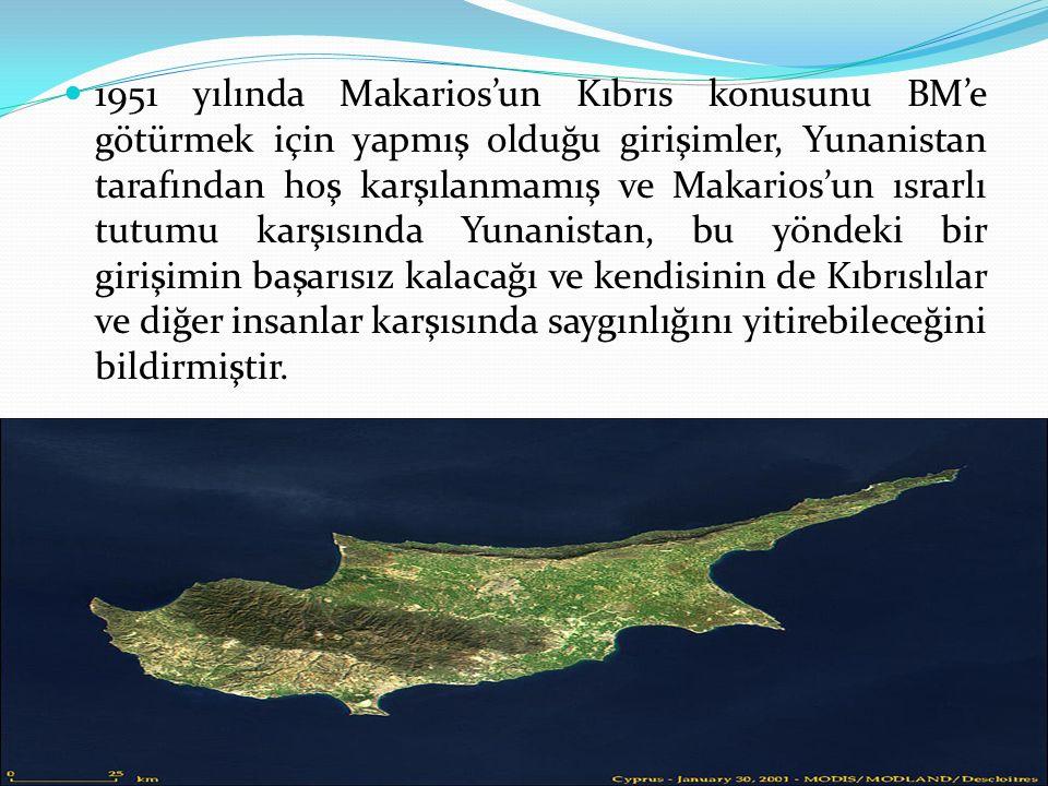 Yunanistan'ın Kıbrıs'a ilişkin politikasının değişmesiyle birlikte bu ülke ile İngiltere arasında 1955'lere kadar süren bir görüşme süreci yaşanmıştır.