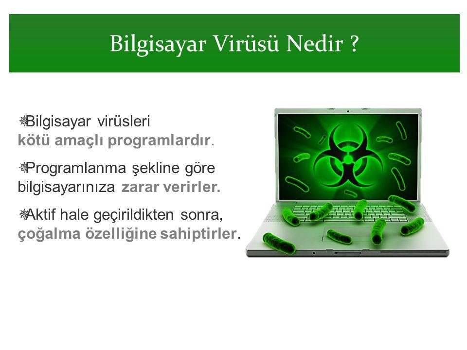 Bilgisayar Virüsü Nedir ?  Bilgisayar virüsleri kötü amaçlı programlardır.  Programlanma şekline göre bilgisayarınıza zarar verirler.  Aktif hale g