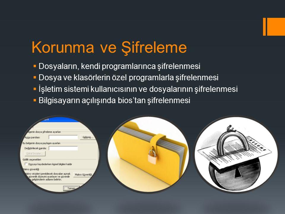 Korunma ve Şifreleme  Dosyaların, kendi programlarınca şifrelenmesi  Dosya ve klasörlerin özel programlarla şifrelenmesi  İşletim sistemi kullanıcı
