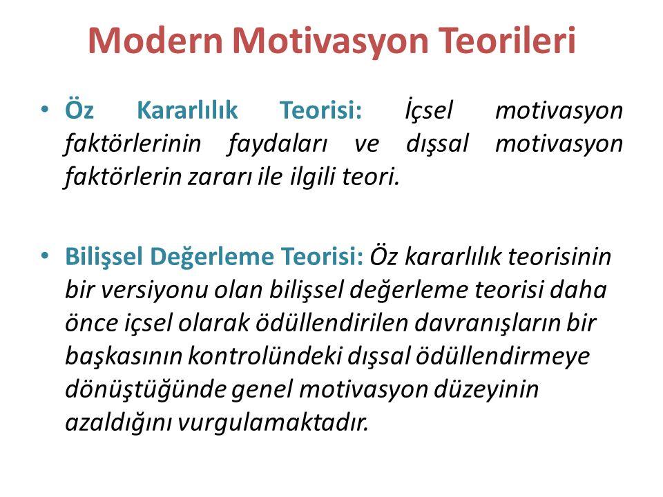Modern Motivasyon Teorileri Öz Kararlılık Teorisi: İçsel motivasyon faktörlerinin faydaları ve dışsal motivasyon faktörlerin zararı ile ilgili teori.