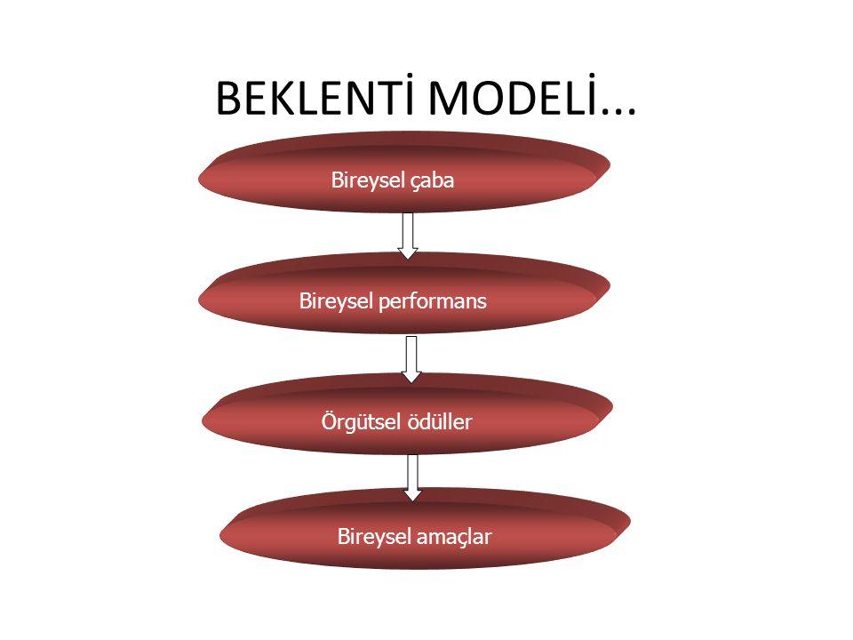 BEKLENTİ MODELİ... Bireysel çaba Bireysel performans Örgütsel ödüller Bireysel amaçlar