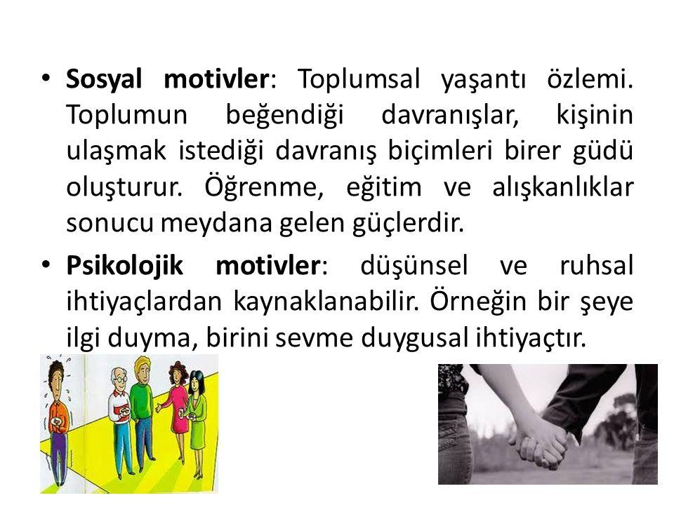 Sosyal motivler: Toplumsal yaşantı özlemi. Toplumun beğendiği davranışlar, kişinin ulaşmak istediği davranış biçimleri birer güdü oluşturur. Öğrenme,