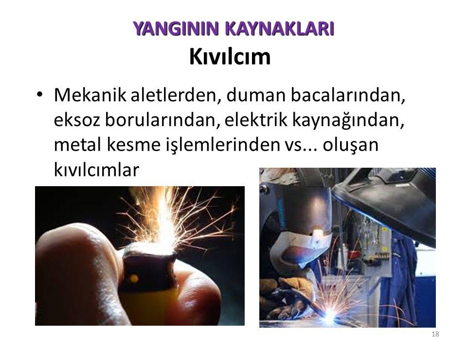 YANGININ KAYNAKLARI YANGININ KAYNAKLARI Statik Elektrik : Maddelerin yüzeyleri üzerinde sürtünme sonucu üretilen elektriksel yükten dolayı oluşur.