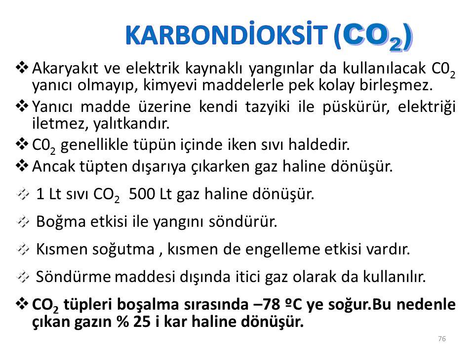 Karbondioksitli yangın söndürücüler B ve C sınıfı yangınlarda daha uygundur.