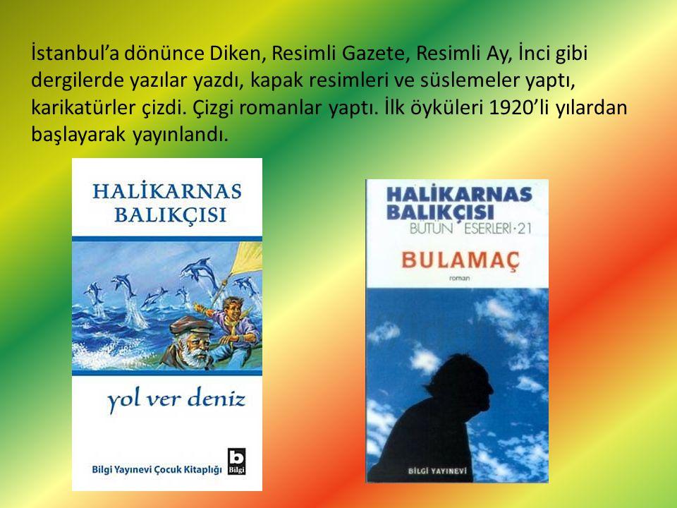 İstanbul'a dönünce Diken, Resimli Gazete, Resimli Ay, İnci gibi dergilerde yazılar yazdı, kapak resimleri ve süslemeler yaptı, karikatürler çizdi.