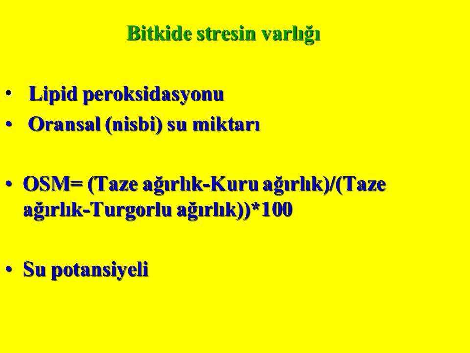 Bitkide stresin varlığı Lipid peroksidasyonu Lipid peroksidasyonu Oransal (nisbi) su miktarı Oransal (nisbi) su miktarı OSM= (Taze ağırlık-Kuru ağırlık)/(Taze ağırlık-Turgorlu ağırlık))*100OSM= (Taze ağırlık-Kuru ağırlık)/(Taze ağırlık-Turgorlu ağırlık))*100 Su potansiyeliSu potansiyeli