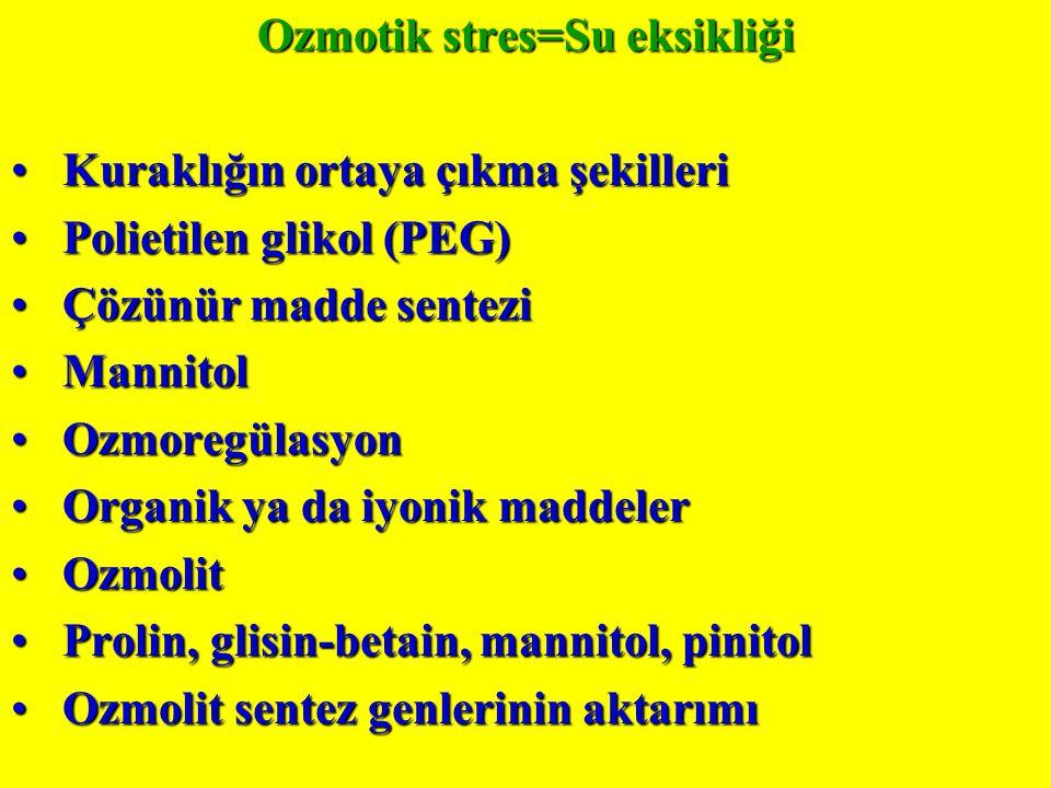 Ozmotik stres=Su eksikliği Kuraklığın ortaya çıkma şekilleri Kuraklığın ortaya çıkma şekilleri Polietilen glikol (PEG) Polietilen glikol (PEG) Çözünür madde sentezi Çözünür madde sentezi Mannitol Mannitol Ozmoregülasyon Ozmoregülasyon Organik ya da iyonik maddeler Organik ya da iyonik maddeler Ozmolit Ozmolit Prolin, glisin-betain, mannitol, pinitol Prolin, glisin-betain, mannitol, pinitol Ozmolit sentez genlerinin aktarımı Ozmolit sentez genlerinin aktarımı