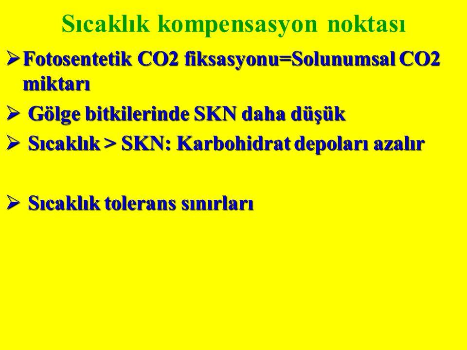 Sıcaklık kompensasyon noktası  Fotosentetik CO2 fiksasyonu=Solunumsal CO2 miktarı  Gölge bitkilerinde SKN daha düşük  Sıcaklık > SKN: Karbohidrat depoları azalır  Sıcaklık tolerans sınırları