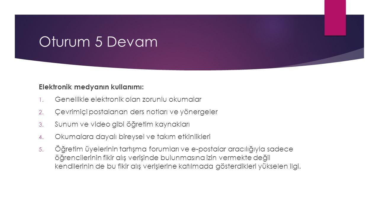 Oturum 5 Devam Elektronik medyanın kullanımı: 1. Genellikle elektronik olan zorunlu okumalar 2.