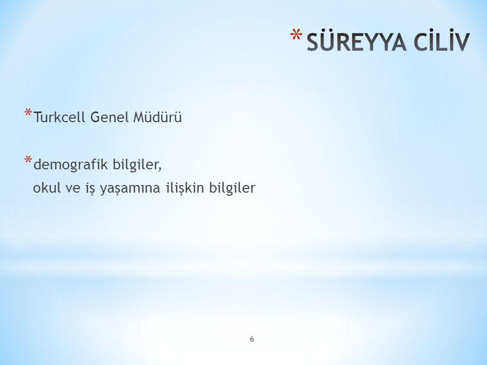 7 * Vodafone Türkiye CEO'su * demografik bilgiler, okul ve iş yaşamına ilişkin bilgiler