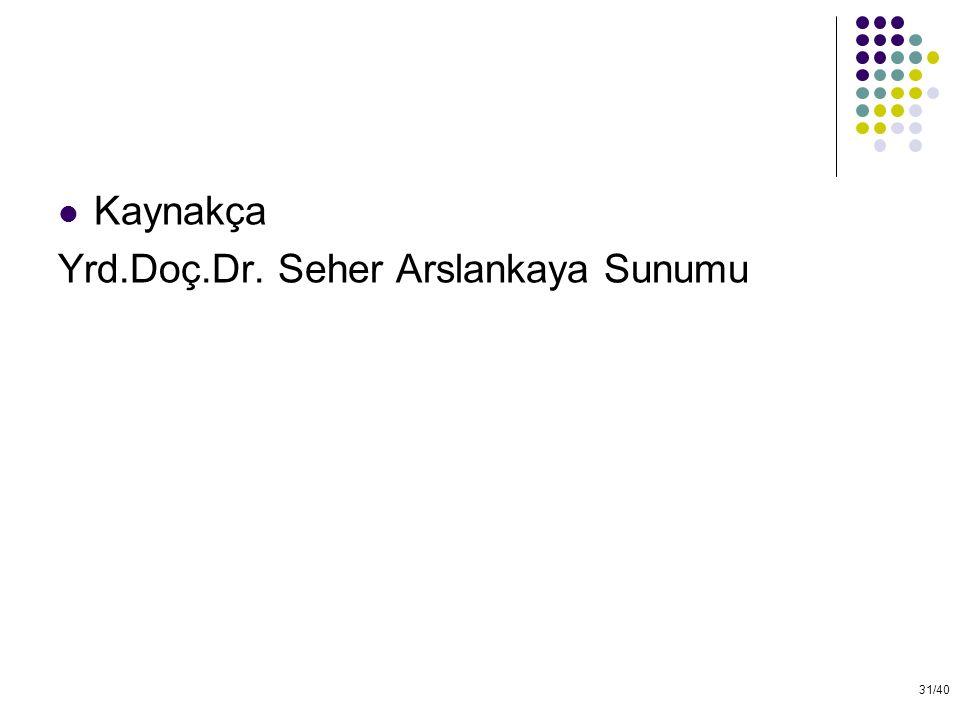 31/40 Kaynakça Yrd.Doç.Dr. Seher Arslankaya Sunumu
