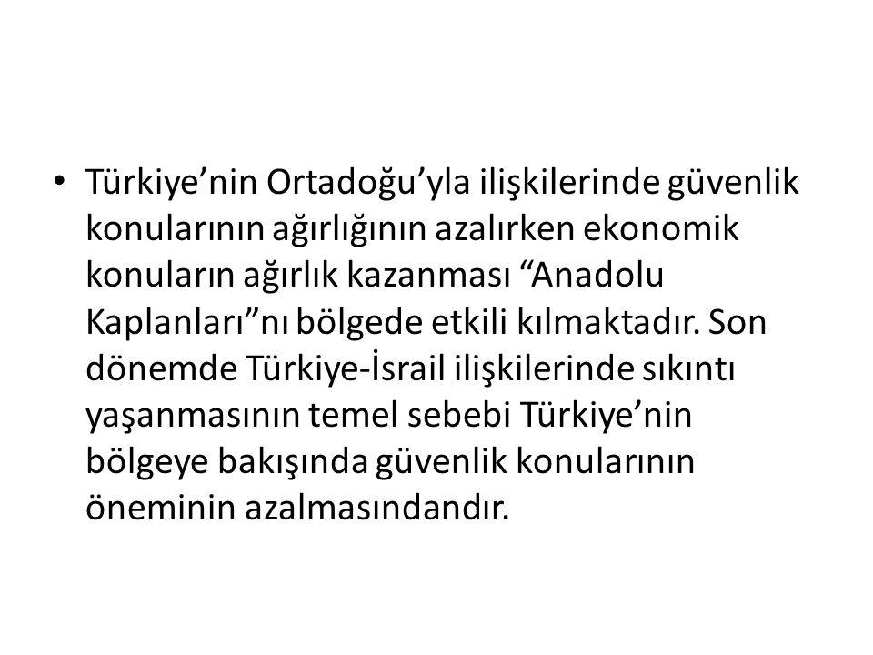 Türkiye'nin Ortadoğu'yla ilişkilerinde güvenlik konularının ağırlığının azalırken ekonomik konuların ağırlık kazanması Anadolu Kaplanları nı bölgede etkili kılmaktadır.