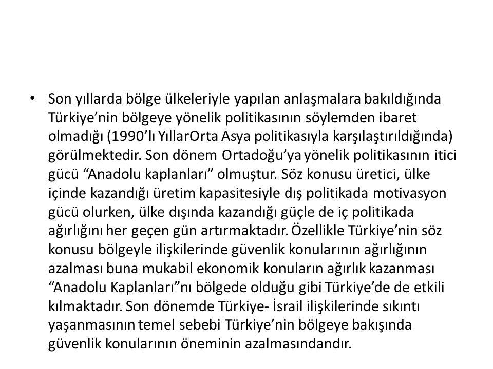 Son yıllarda bölge ülkeleriyle yapılan anlaşmalara bakıldığında Türkiye'nin bölgeye yönelik politikasının söylemden ibaret olmadığı (1990'lı YıllarOrta Asya politikasıyla karşılaştırıldığında) görülmektedir.