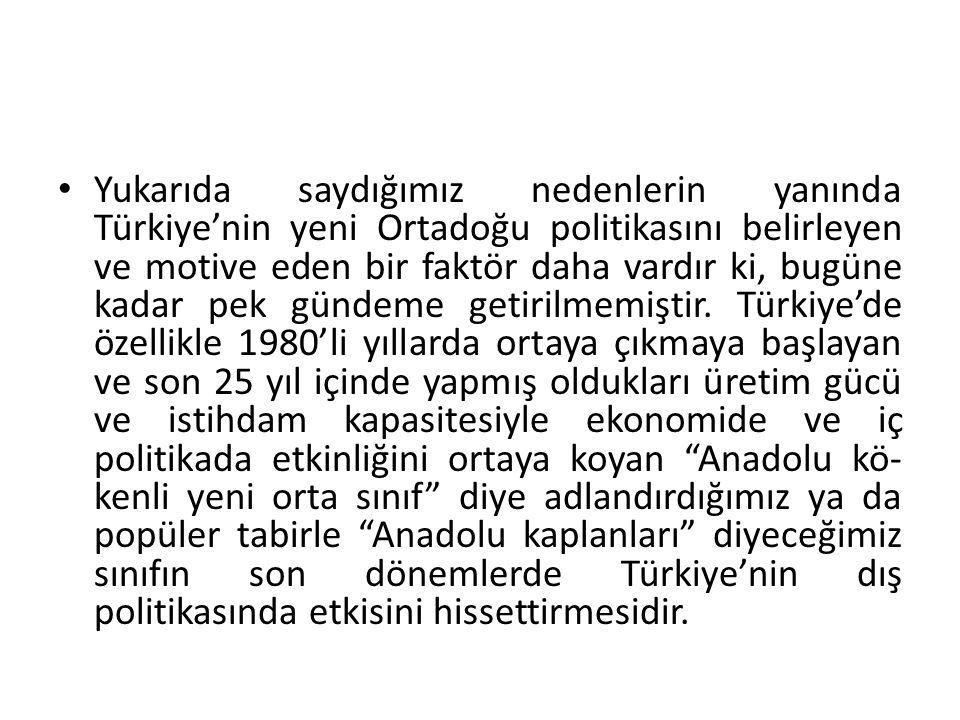 Yukarıda saydığımız nedenlerin yanında Türkiye'nin yeni Ortadoğu politikasını belirleyen ve motive eden bir faktör daha vardır ki, bugüne kadar pek gündeme getirilmemiştir.