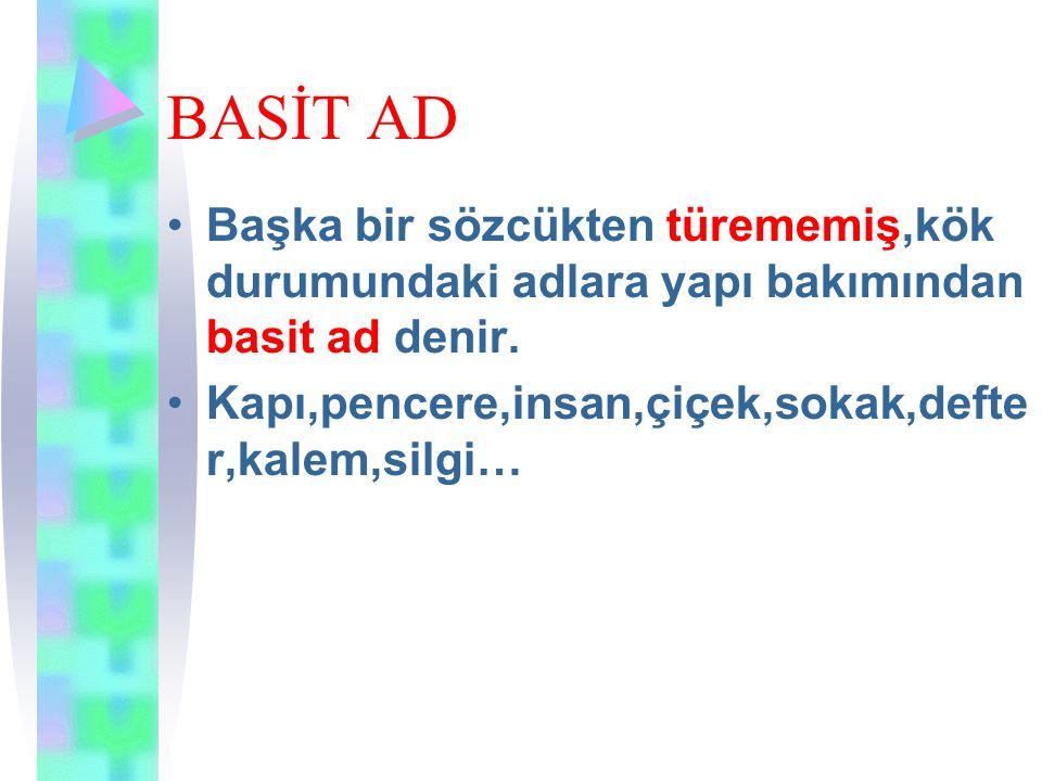 TÜREMİŞ ADLAR Gözlük göz Boyacı boya Türkçe Türk Sözlük söz Göz sözcüğüne -lük eki getirilerek başka bir sözcük türetilmiştir.