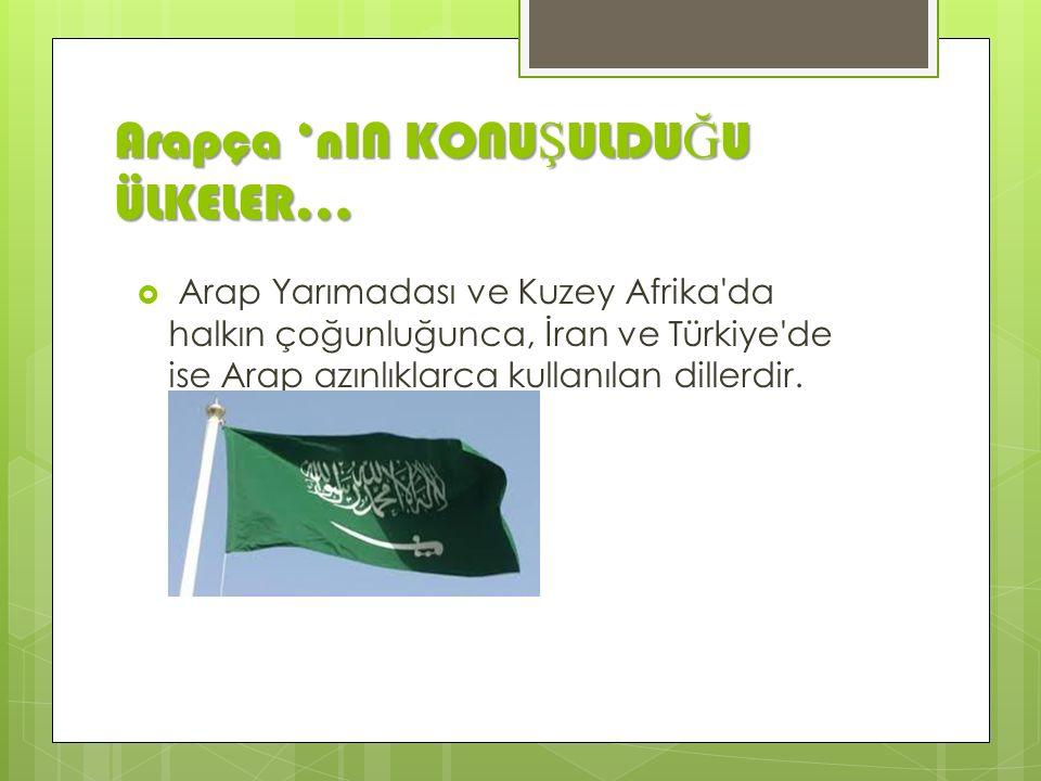 Arapça 'nIN KONU Ş ULDU Ğ U ÜLKELER…  Arap Yarımadası ve Kuzey Afrika da halkın çoğunluğunca, İran ve Türkiye de ise Arap azınlıklarca kullanılan dillerdir.