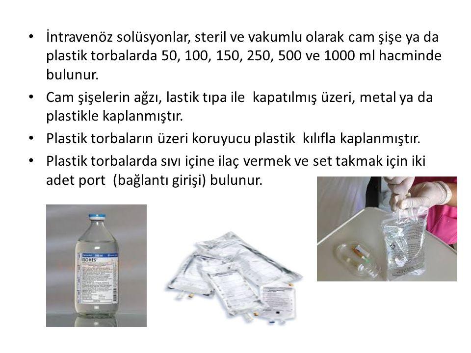 İntravenöz solüsyonlar, steril ve vakumlu olarak cam şişe ya da plastik torbalarda 50, 100, 150, 250, 500 ve 1000 ml hacminde bulunur.