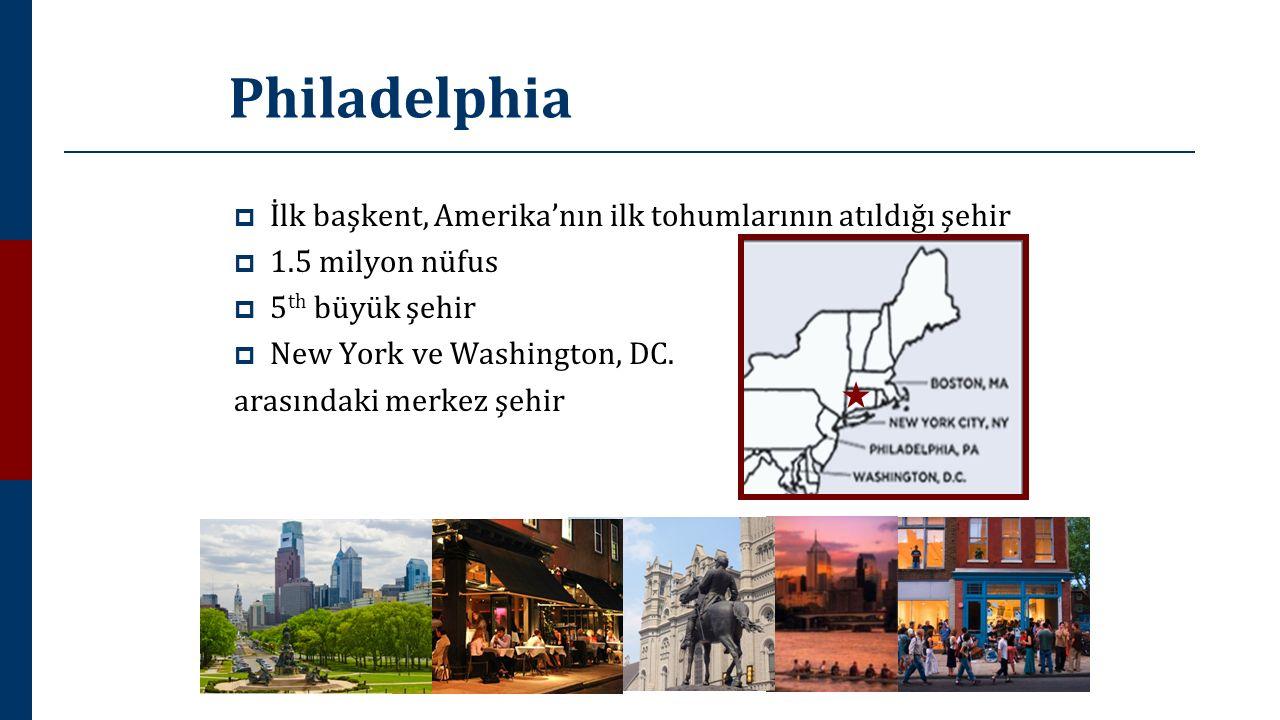 Philadelphia  İlk başkent, Amerika'nın ilk tohumlarının atıldığı şehir  1.5 milyon nüfus  5 th büyük şehir  New York ve Washington, DC. arasındaki