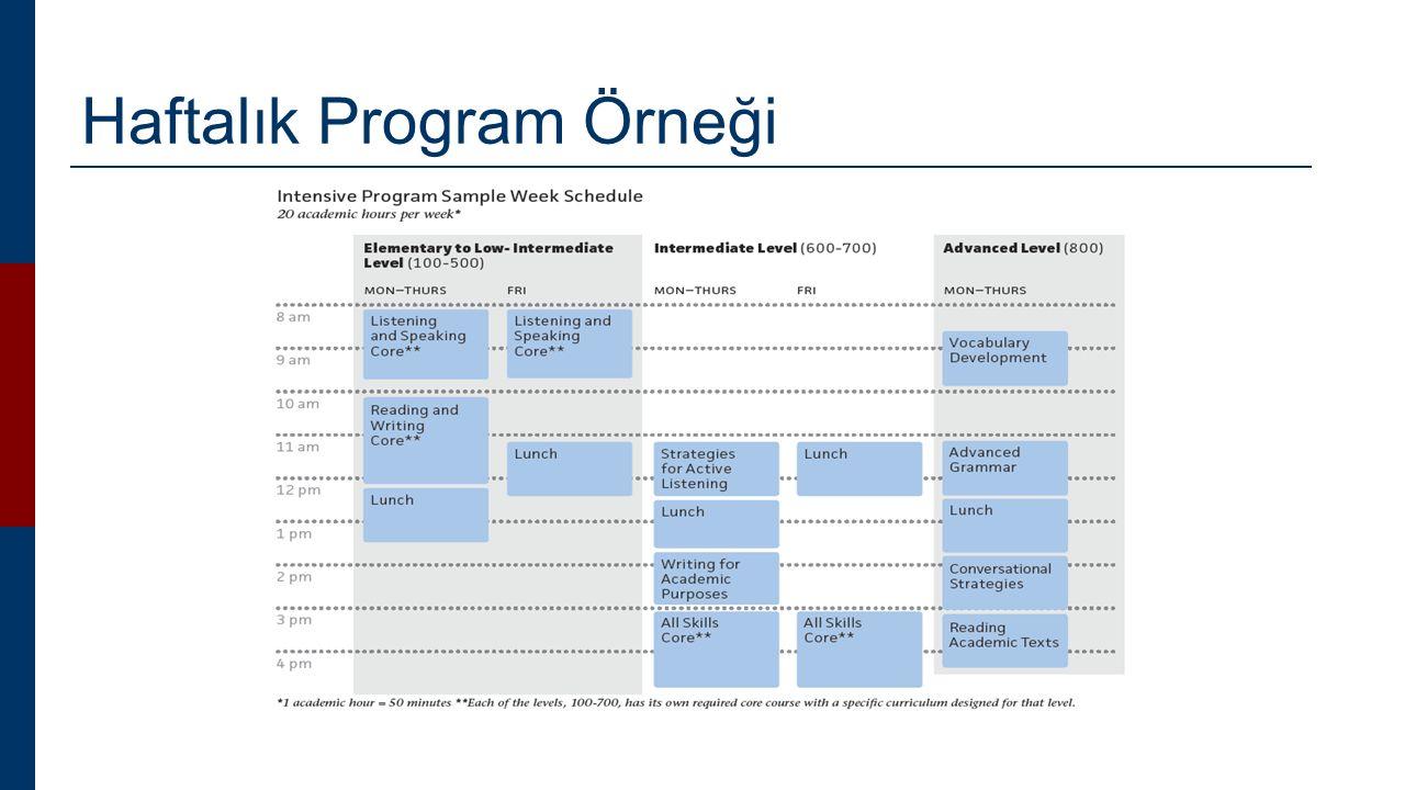 Haftalık Program Örneği