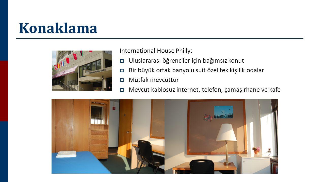 Konaklama International House Philly:  Uluslararası öğrenciler için bağımsız konut  Bir büyük ortak banyolu suit özel tek kişilik odalar  Mutfak mevcuttur  Mevcut kablosuz internet, telefon, çamaşırhane ve kafe