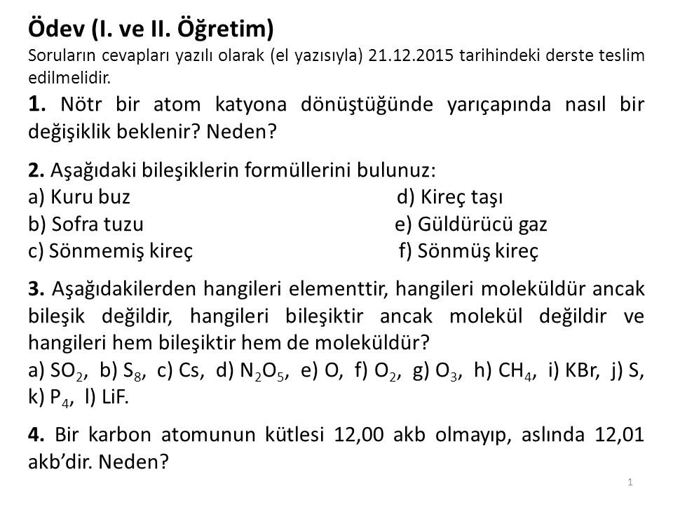 1 Ödev (I.ve II.