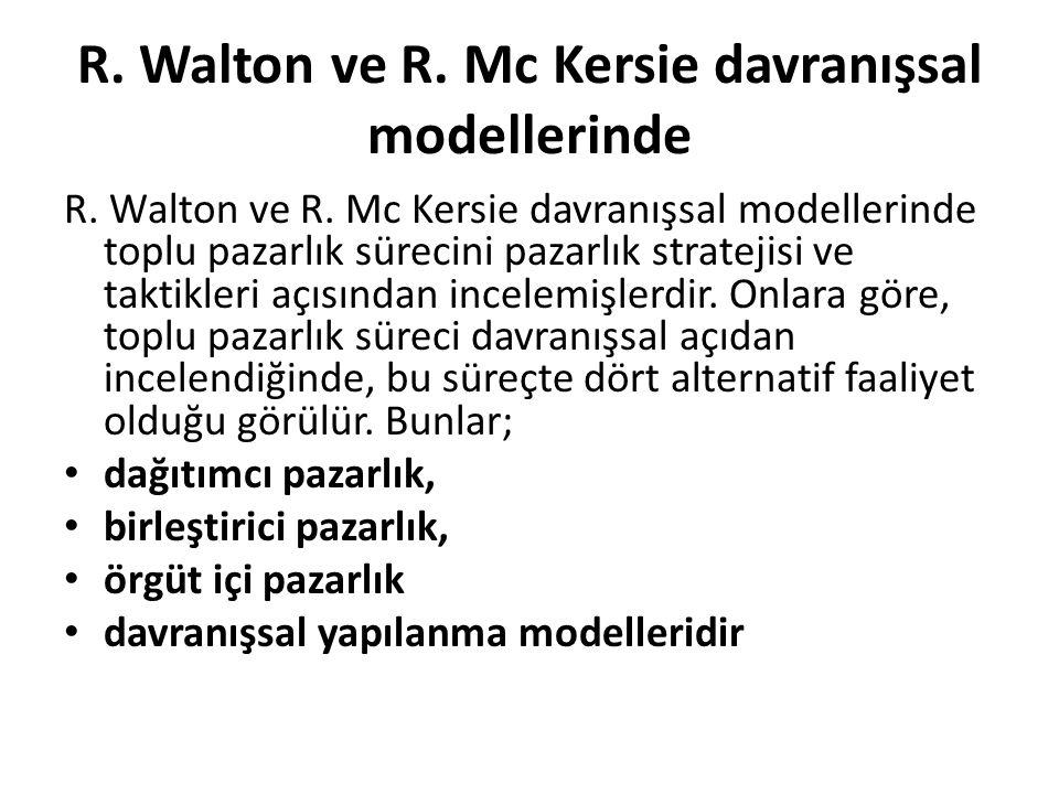 R. Walton ve R. Mc Kersie davranışsal modellerinde R. Walton ve R. Mc Kersie davranışsal modellerinde toplu pazarlık sürecini pazarlık stratejisi ve t
