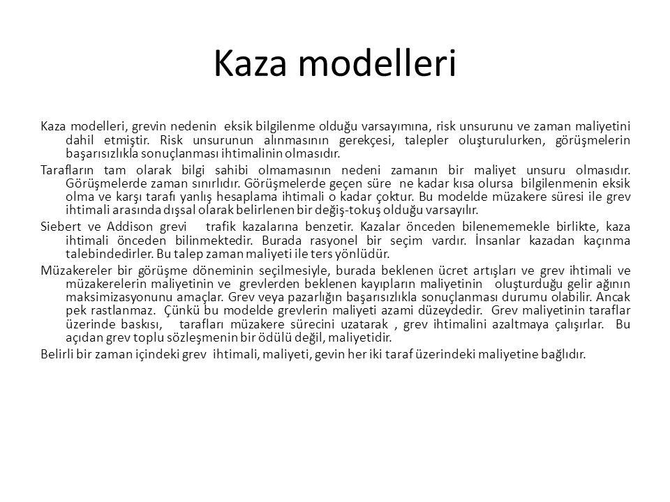 Kaza modelleri Kaza modelleri, grevin nedenin eksik bilgilenme olduğu varsayımına, risk unsurunu ve zaman maliyetini dahil etmiştir. Risk unsurunun al