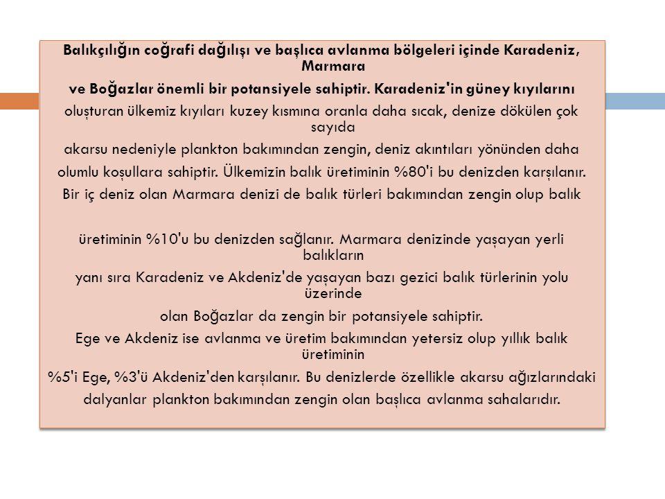 Balıkçılı ğ ın co ğ rafi da ğ ılışı ve başlıca avlanma bölgeleri içinde Karadeniz, Marmara ve Bo ğ azlar önemli bir potansiyele sahiptir.
