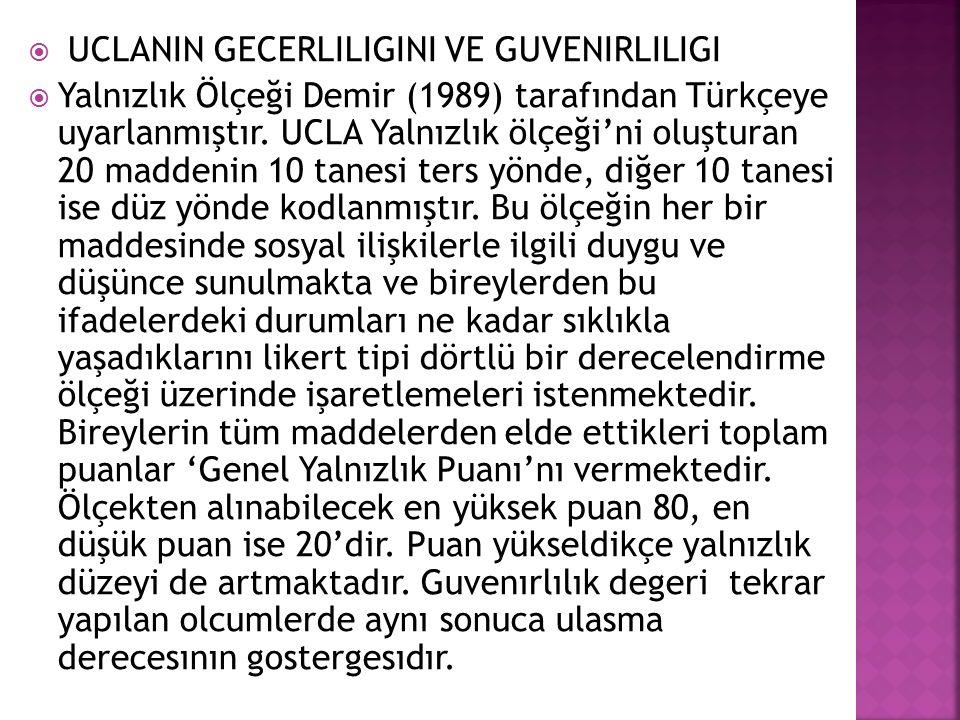  UCLANIN GECERLILIGINI VE GUVENIRLILIGI  Yalnızlık Ölçeği Demir (1989) tarafından Türkçeye uyarlanmıştır.