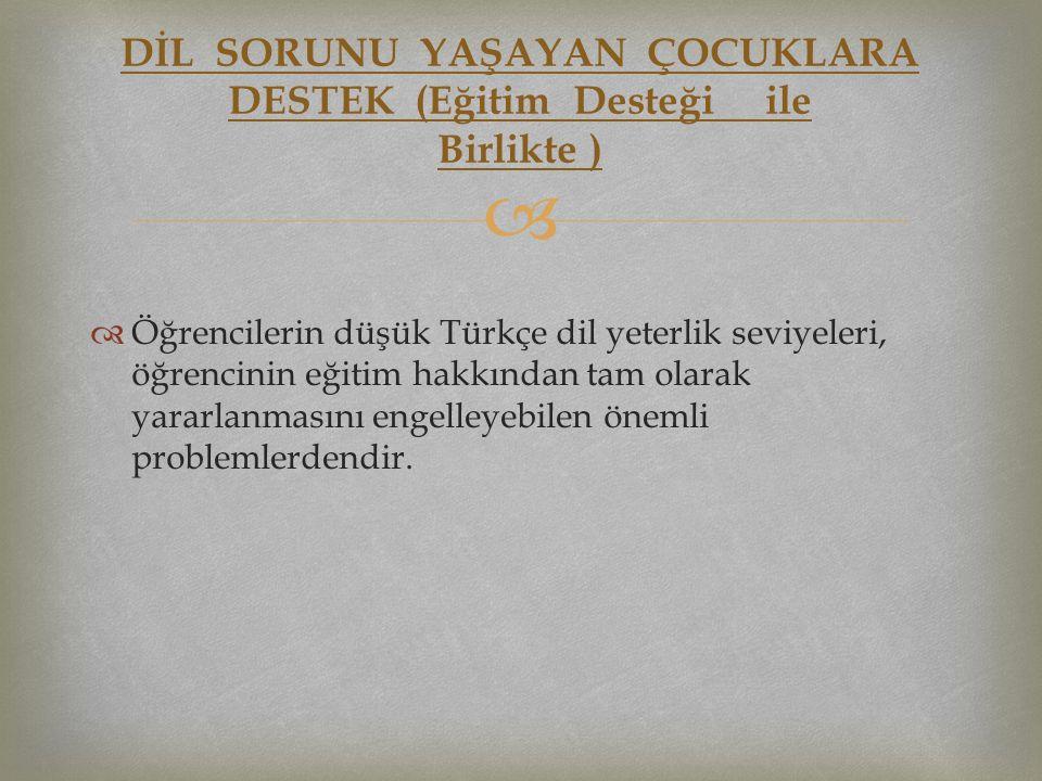   Öğrencilerin düşük Türkçe dil yeterlik seviyeleri, öğrencinin eğitim hakkından tam olarak yararlanmasını engelleyebilen önemli problemlerdendir. D