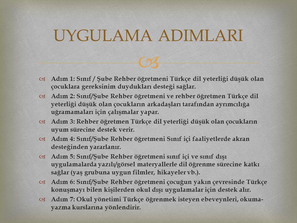   Adım 1: Sınıf / Şube Rehber öğretmeni Türkçe dil yeterliği düşük olan çocuklara gereksinim duydukları desteği sağlar.  Adım 2: Sınıf/Şube Rehber
