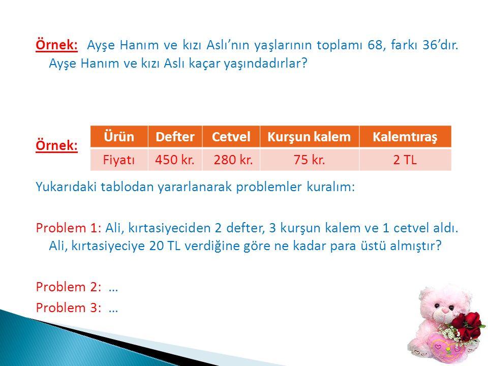 Örnek: Ayşe Hanım ve kızı Aslı'nın yaşlarının toplamı 68, farkı 36'dır.