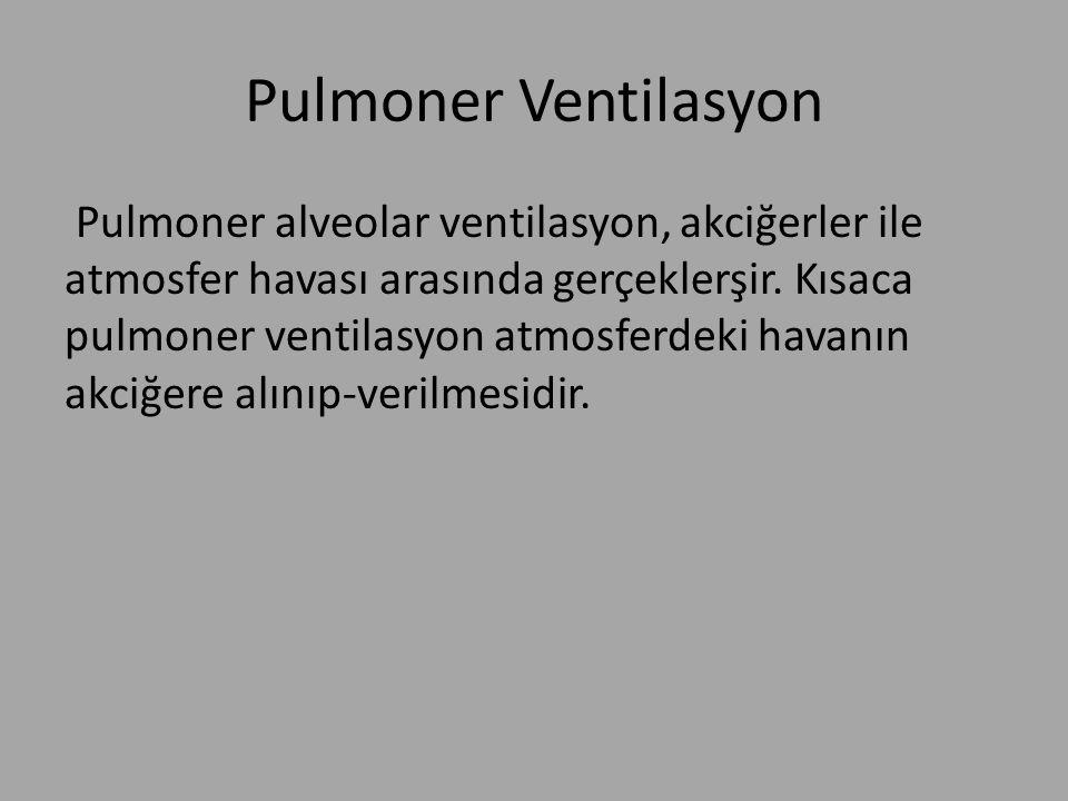 Pulmoner Ventilasyon Pulmoner alveolar ventilasyon, akciğerler ile atmosfer havası arasında gerçeklerşir. Kısaca pulmoner ventilasyon atmosferdeki hav