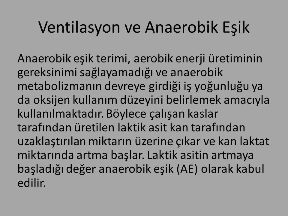 Ventilasyon ve Anaerobik Eşik Anaerobik eşik terimi, aerobik enerji üretiminin gereksinimi sağlayamadığı ve anaerobik metabolizmanın devreye girdiği i