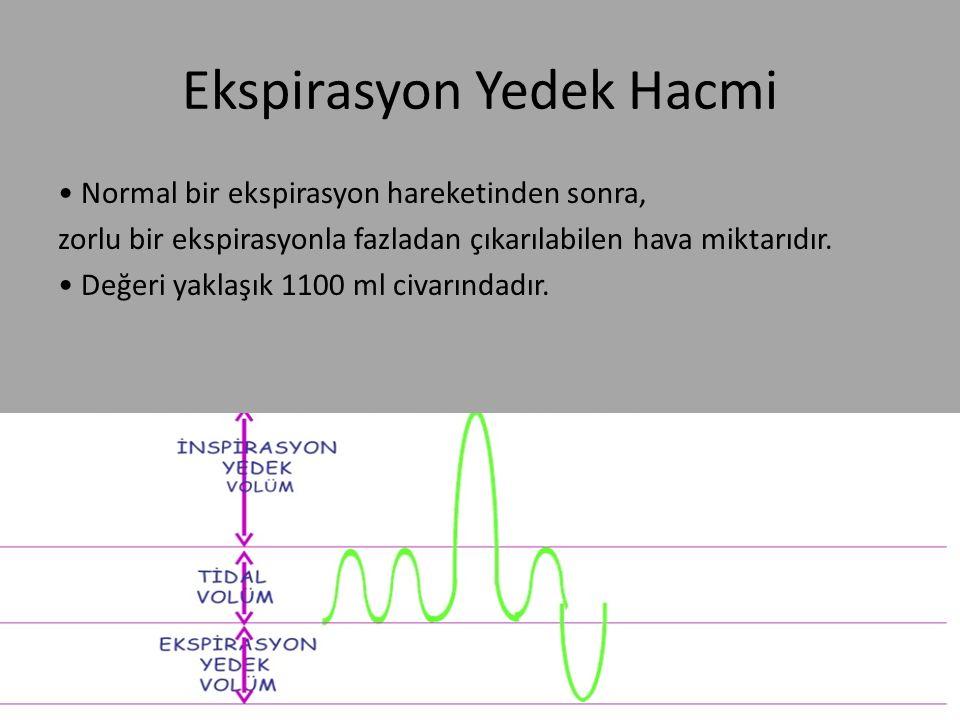 Ekspirasyon Yedek Hacmi Normal bir ekspirasyon hareketinden sonra, zorlu bir ekspirasyonla fazladan çıkarılabilen hava miktarıdır. Değeri yaklaşık 110