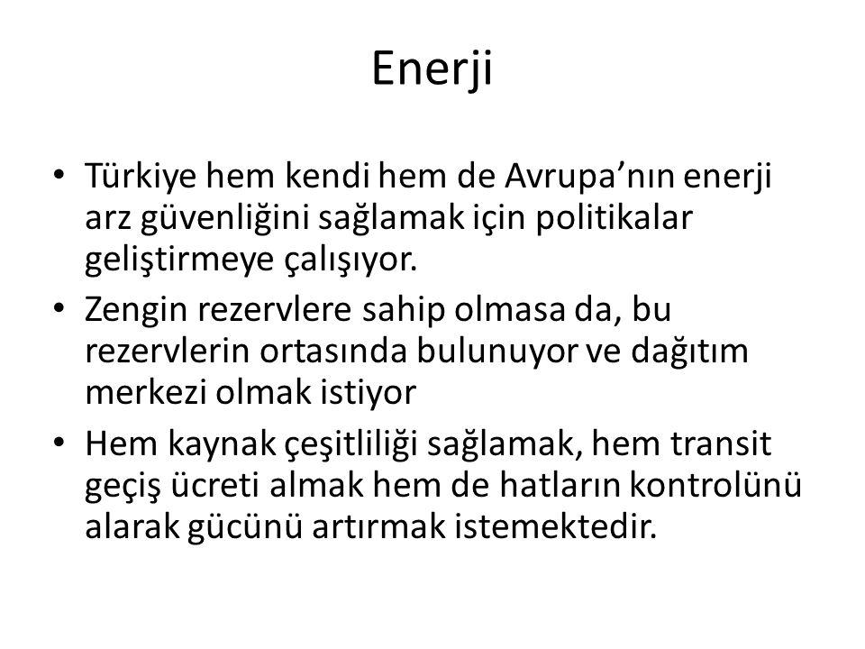 Enerji Türkiye hem kendi hem de Avrupa'nın enerji arz güvenliğini sağlamak için politikalar geliştirmeye çalışıyor. Zengin rezervlere sahip olmasa da,