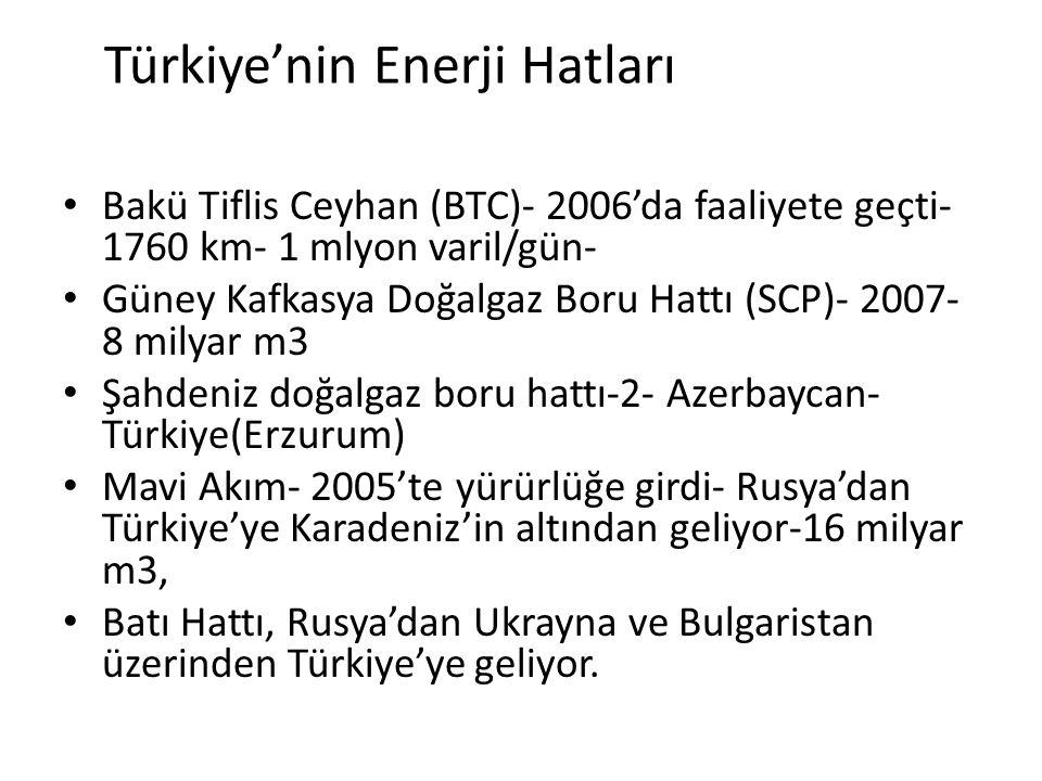 Türkiye'nin Enerji Hatları Bakü Tiflis Ceyhan (BTC)- 2006'da faaliyete geçti- 1760 km- 1 mlyon varil/gün- Güney Kafkasya Doğalgaz Boru Hattı (SCP)- 20